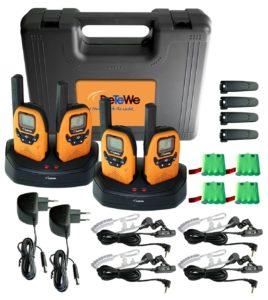 Walkie Talkie 4er Set - DeTeWe PMR Outdoor 8000 Quad Funkgerät 4-er Set